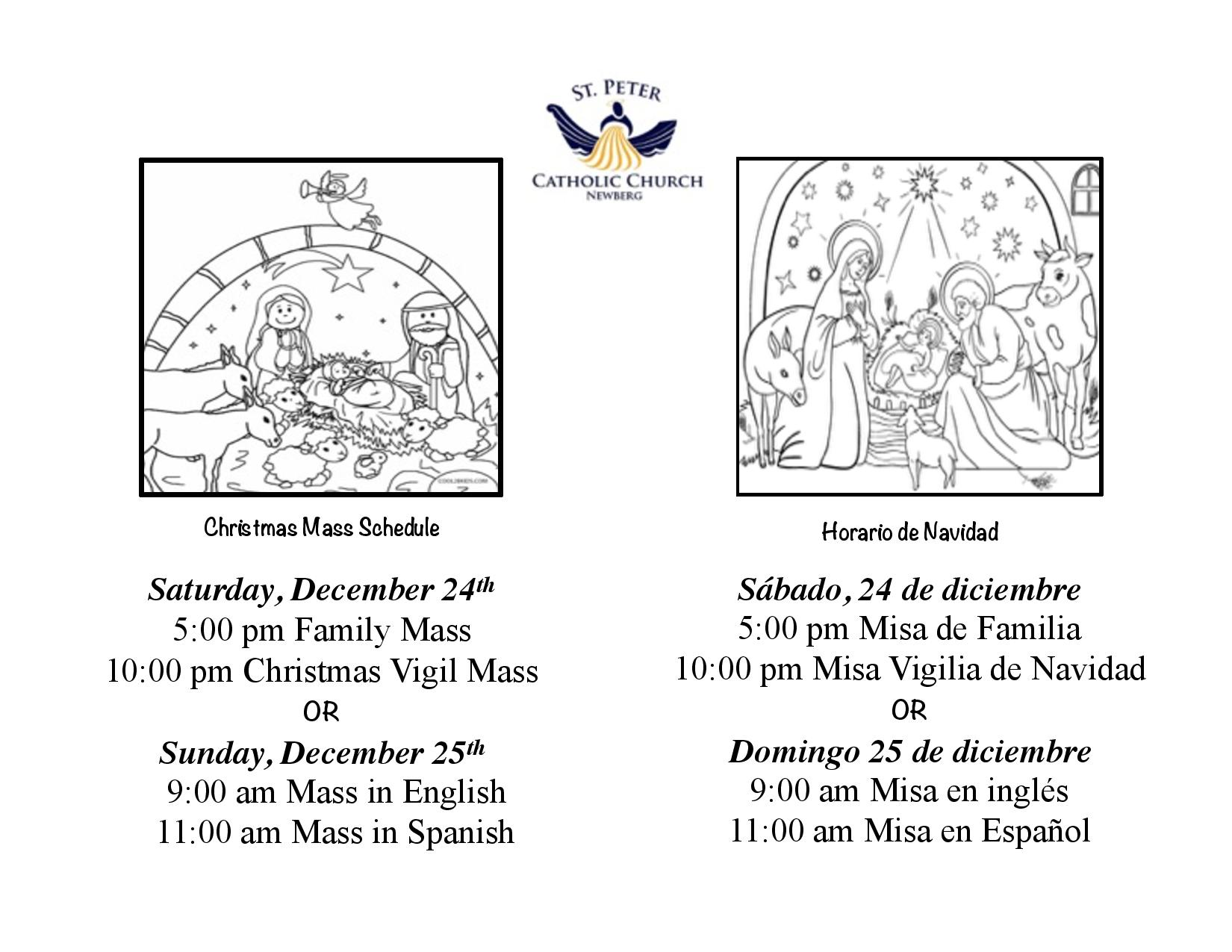 Christmas Masses – 12/24 & 12/25 - St Peter Catholic Church